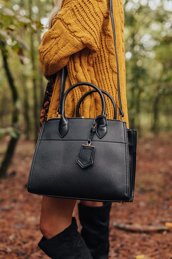 Feeling First Class Faux Leather Tote In Black