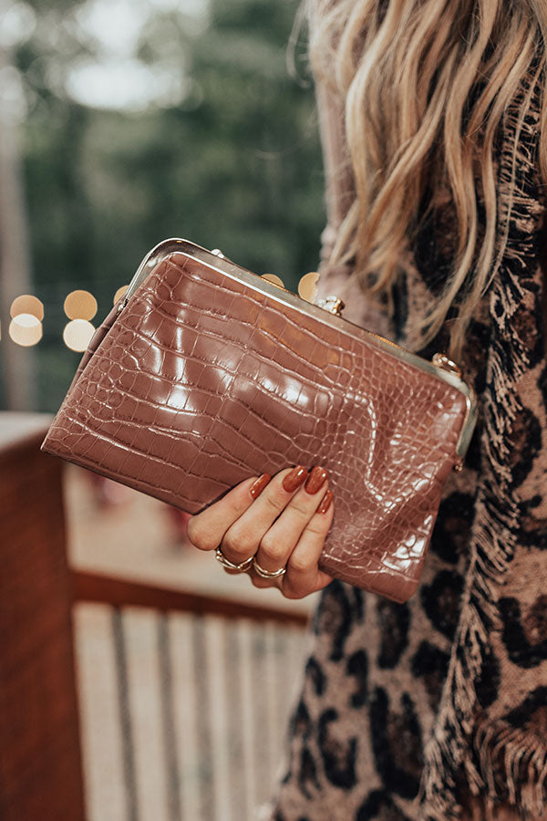 Together Tonight Faux Leather Crossbody In Dark Iced Latte