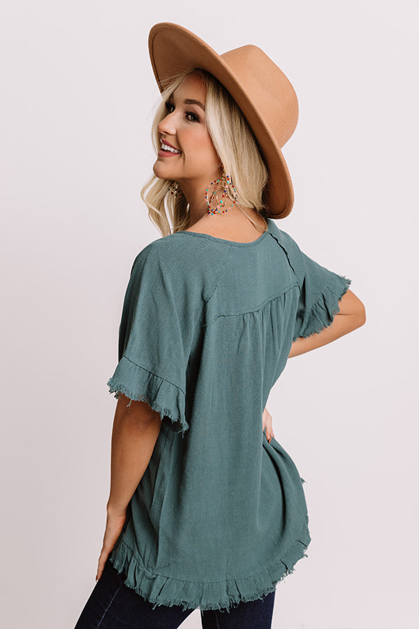 S'more Kisses Shift Top In Hunter Green