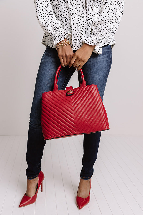 On Brand Faux Leather Tote In Crimson