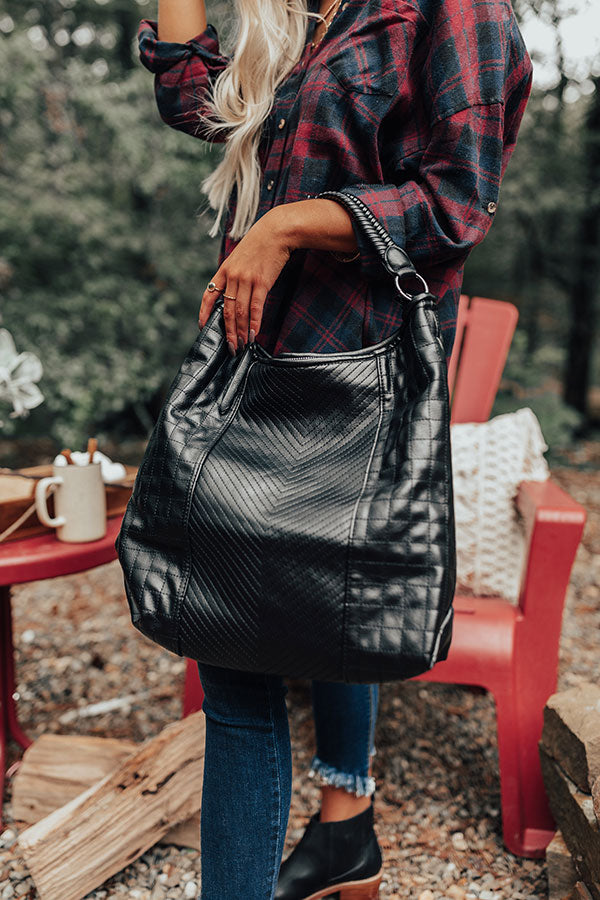 See You Later Faux Leather Tote In Black