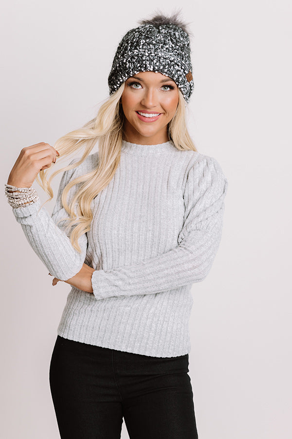 Free Your Mind Ribbed Top In Grey