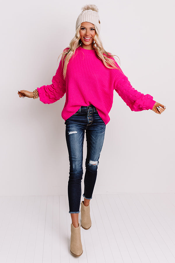 Pumpkin Weather Knit Sweater In Hot Pink