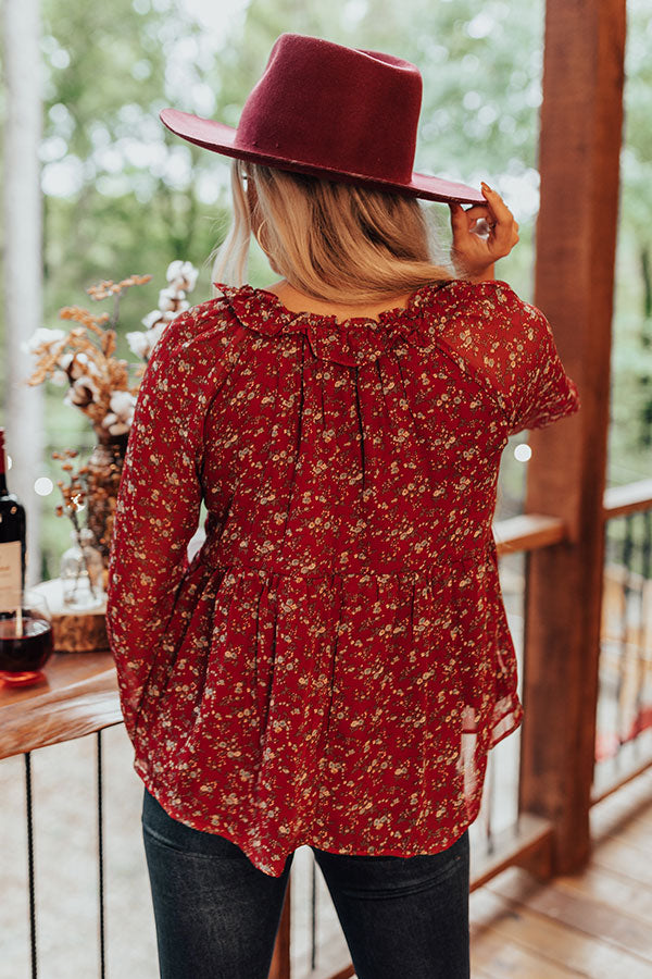 Napa Views Babydoll Top In Wine