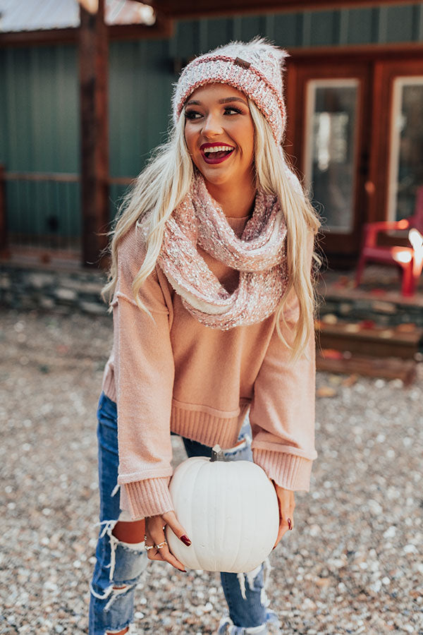Full Of Warmth Popcorn Knit Infinity Scarf in Pink