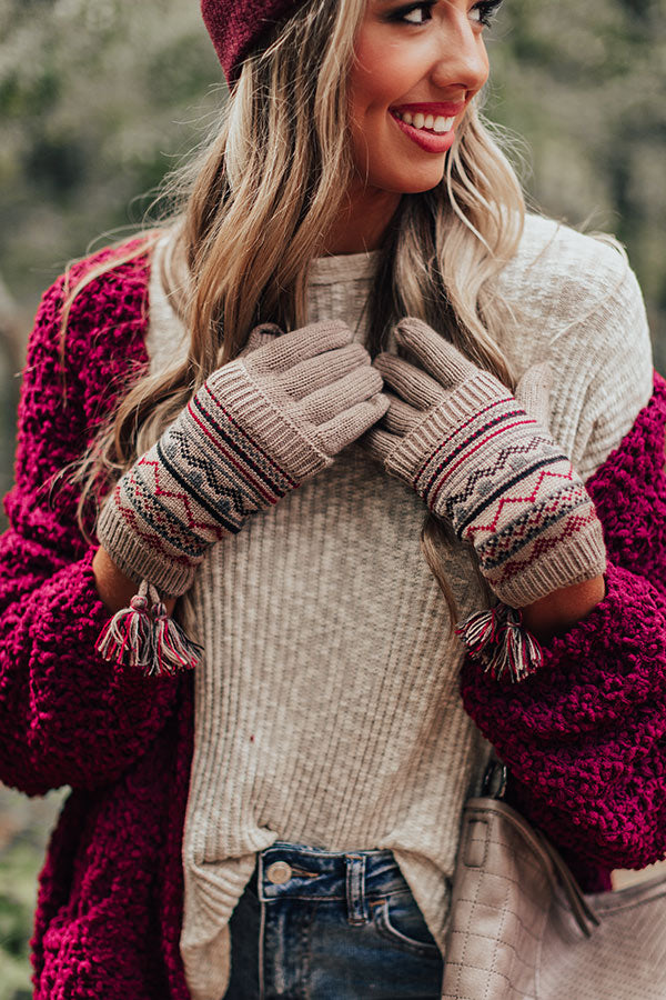 Vail Ski Trip Knit Gloves in Taupe