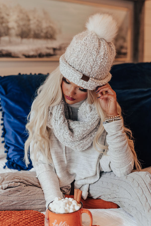 Full Of Warmth Popcorn Knit Beanie in Ivory
