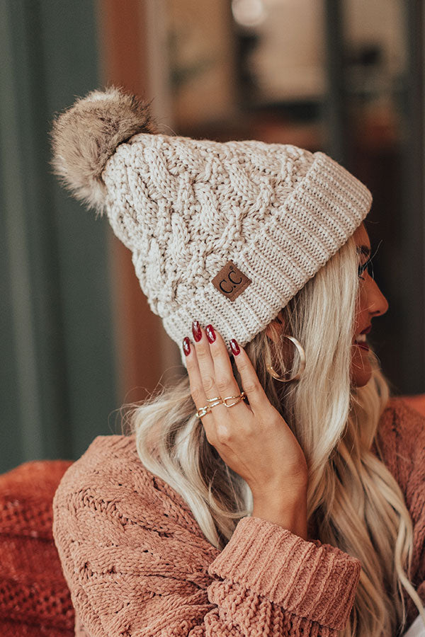 Fall Hike Faux Fur Pom Beanie in Birch