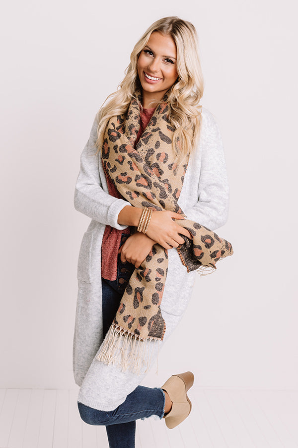 Crunching Leaves Leopard Scarf In Khaki