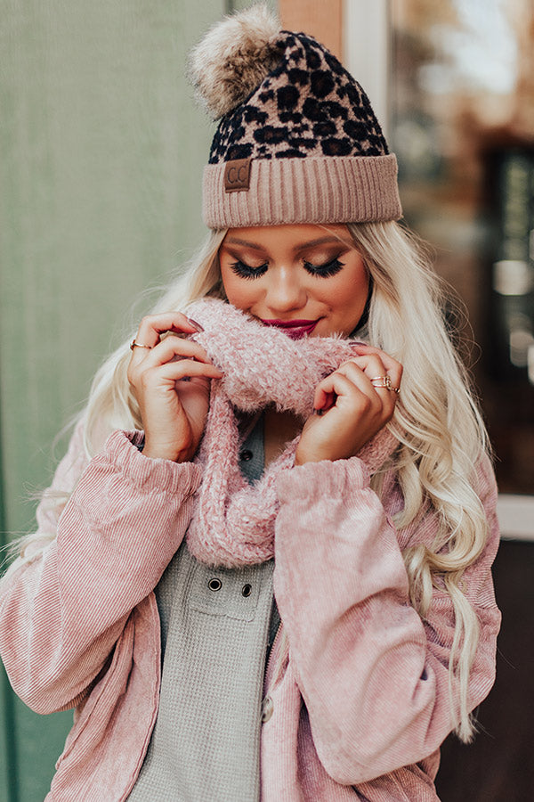 Chilly Vibes Chenille Infinity Scarf in Blush
