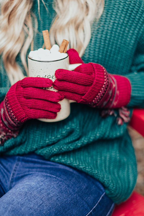 Vail Ski Trip Knit Gloves in Wine