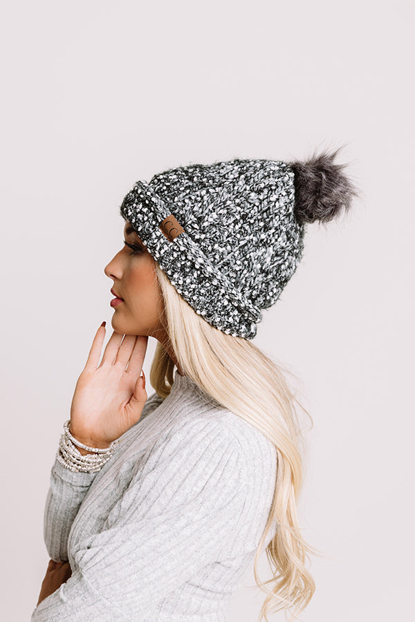 Full Of Warmth Popcorn Knit Beanie in Charcoal