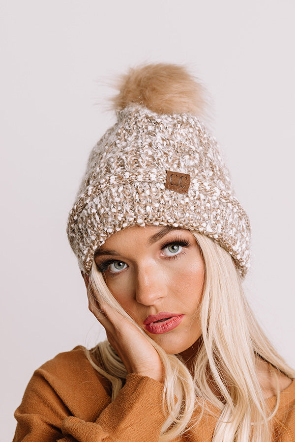 Full Of Warmth Popcorn Knit Beanie in Mocha