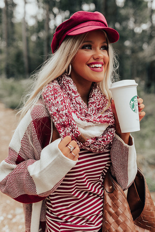 Full Of Warmth Popcorn Knit Infinity Scarf in Wine