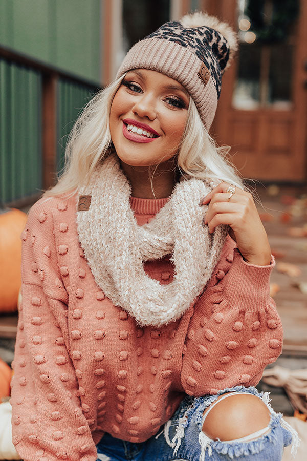Chilly Vibes Chenille Infinity Scarf in Iced Latte