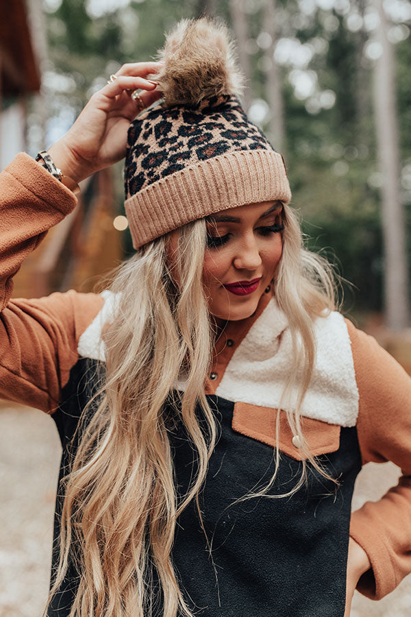 Leopard Love Faux Fur Pom Beanie in Iced Mocha