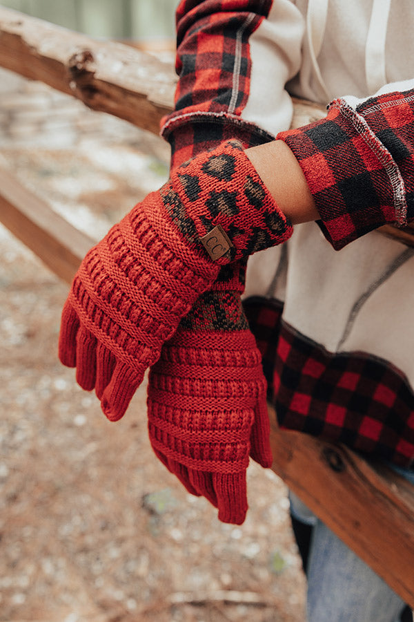 Beautiful Warmth Tech Gloves In Red