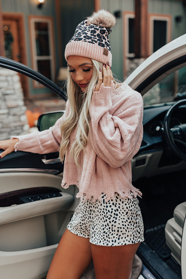 Leopard Love Faux Fur Pom Beanie in Pink