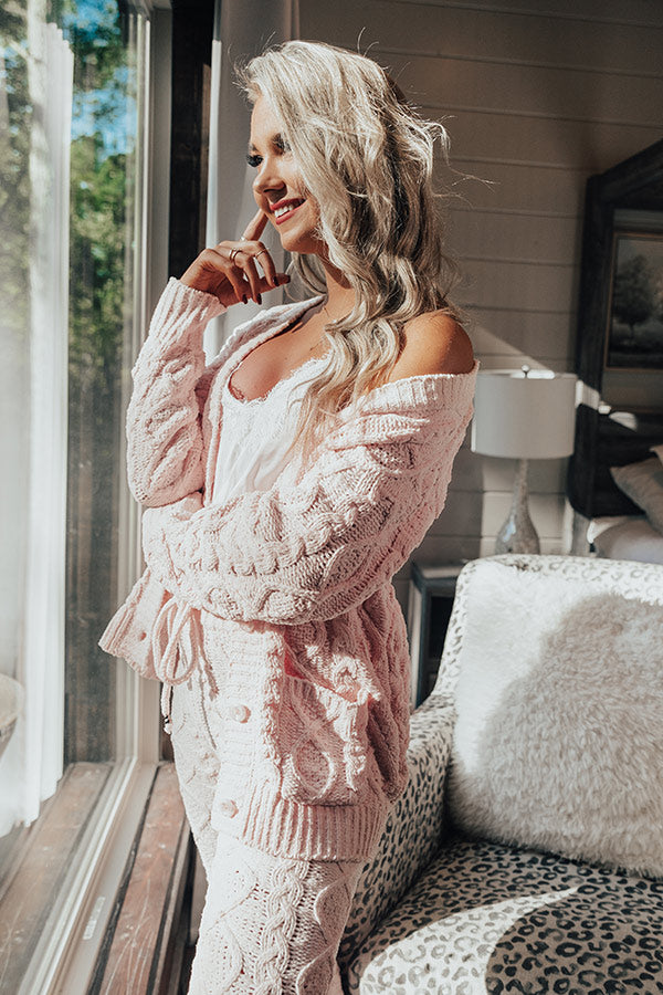 Never Too Cozy Cable Knit Cardigan In Light Pink