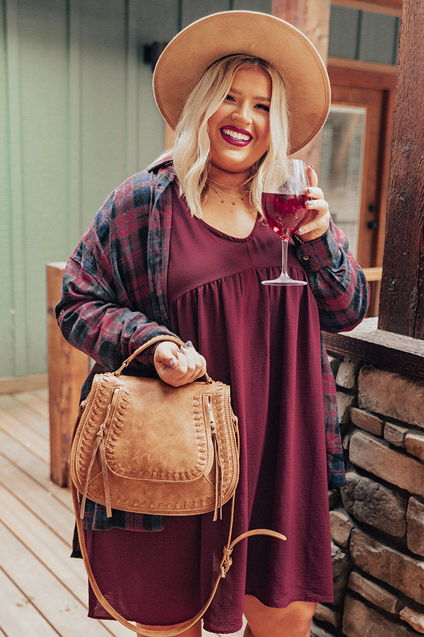 Flannel Pick Me Up Tunic In Wine