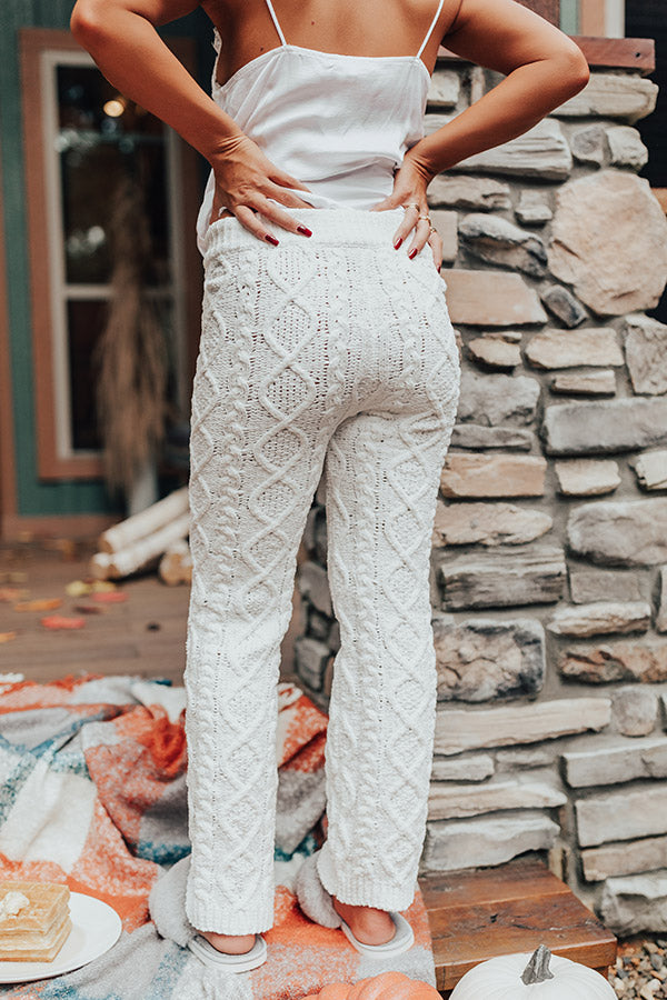 Never Too Cozy Cable Knit Pant In White