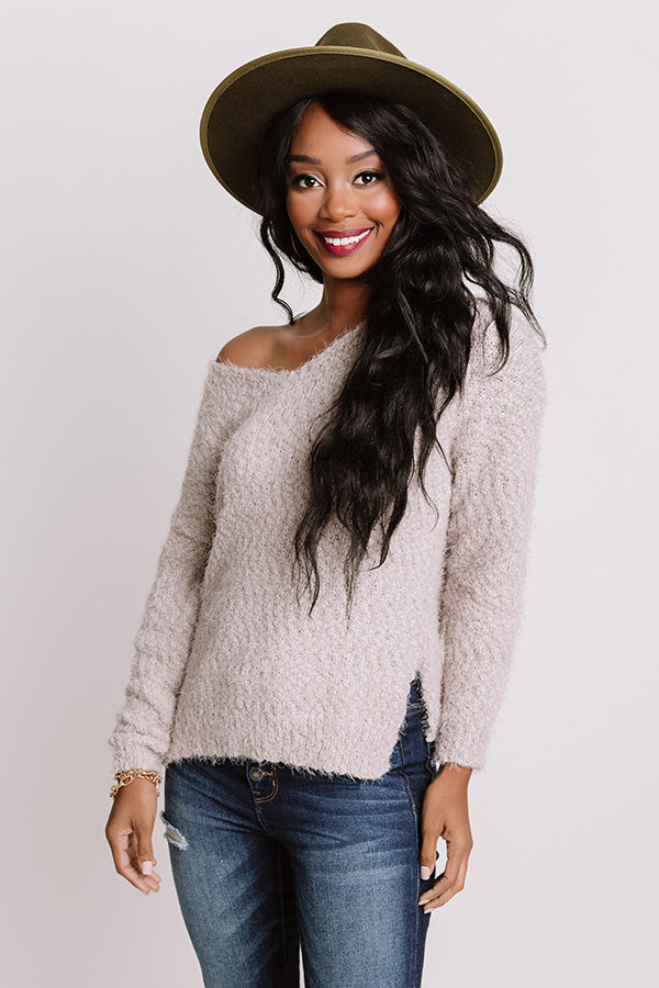 Cozy Side Knit Sweater In Light Taupe