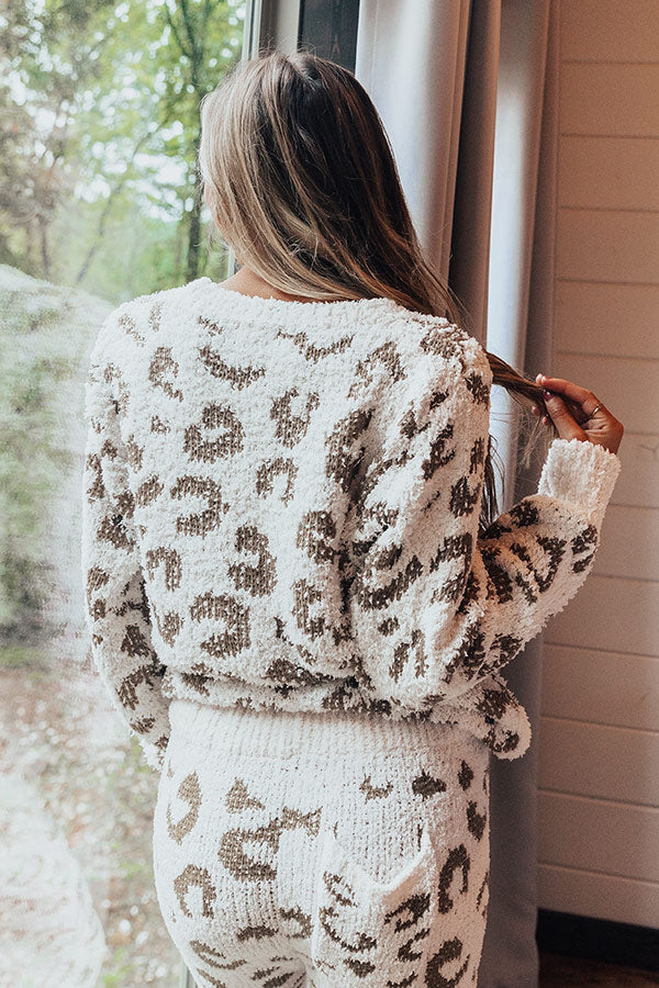 Cue The Cuddles Leopard Sweater in Martini Olive