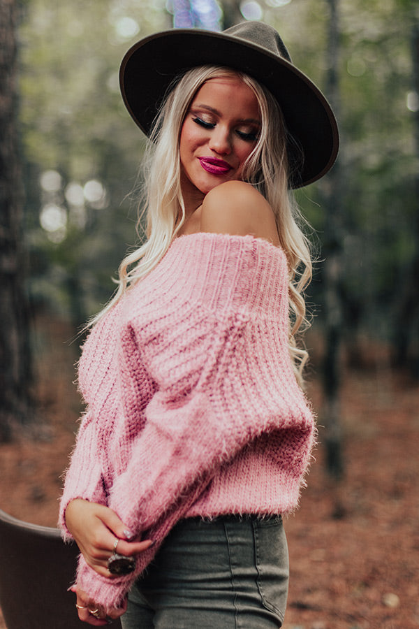 Snuggle Up Buttercup Knit Sweater In Blush