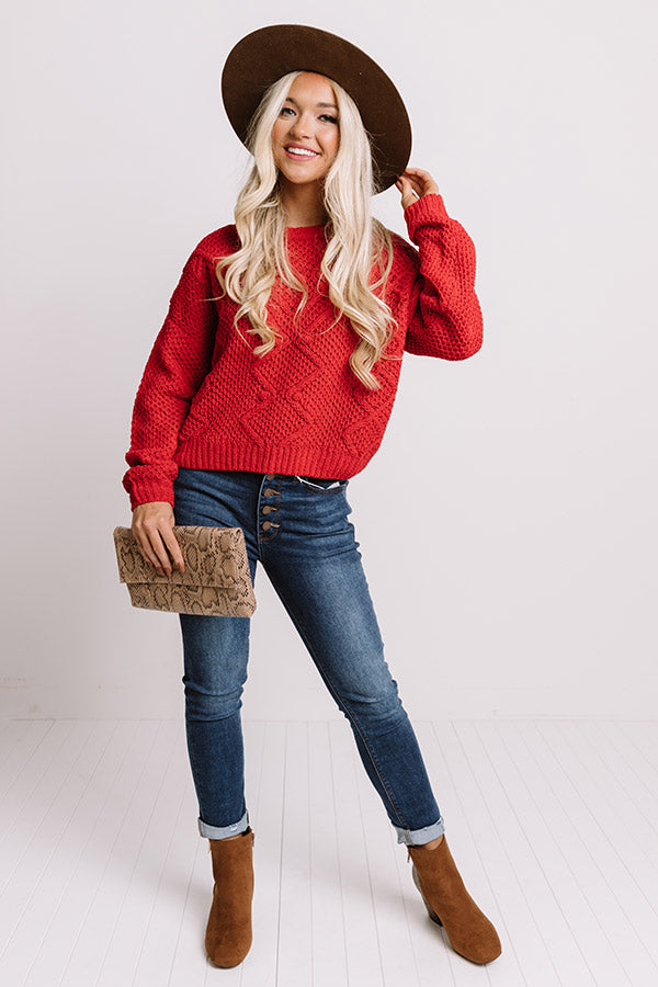 Cider Snuggles Knit Sweater In Red