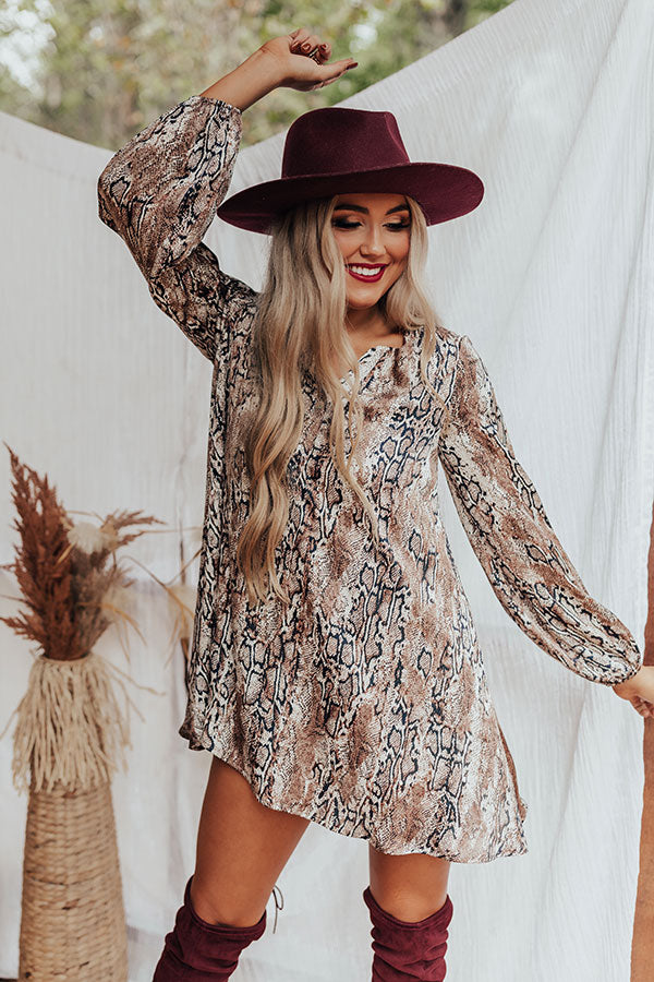 Flirty Babe Snake Print Tunic Dress in Warm Taupe