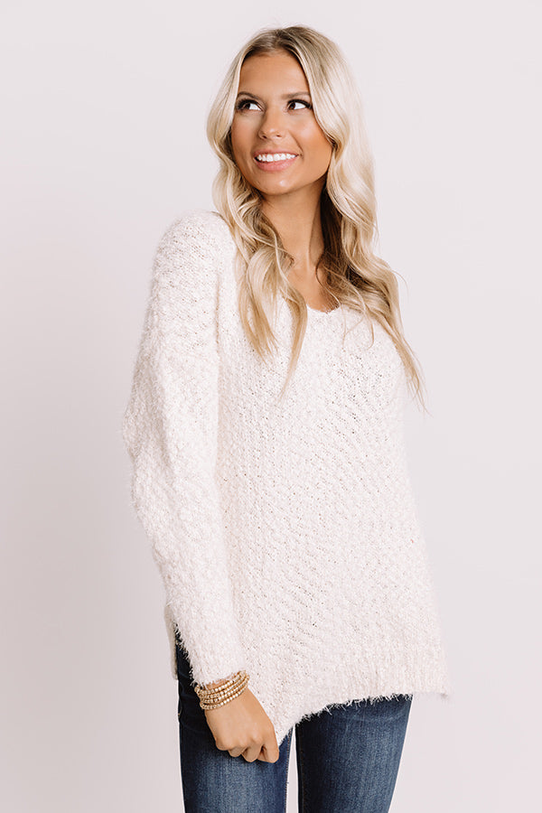 Cozy Side Knit Sweater In Cream