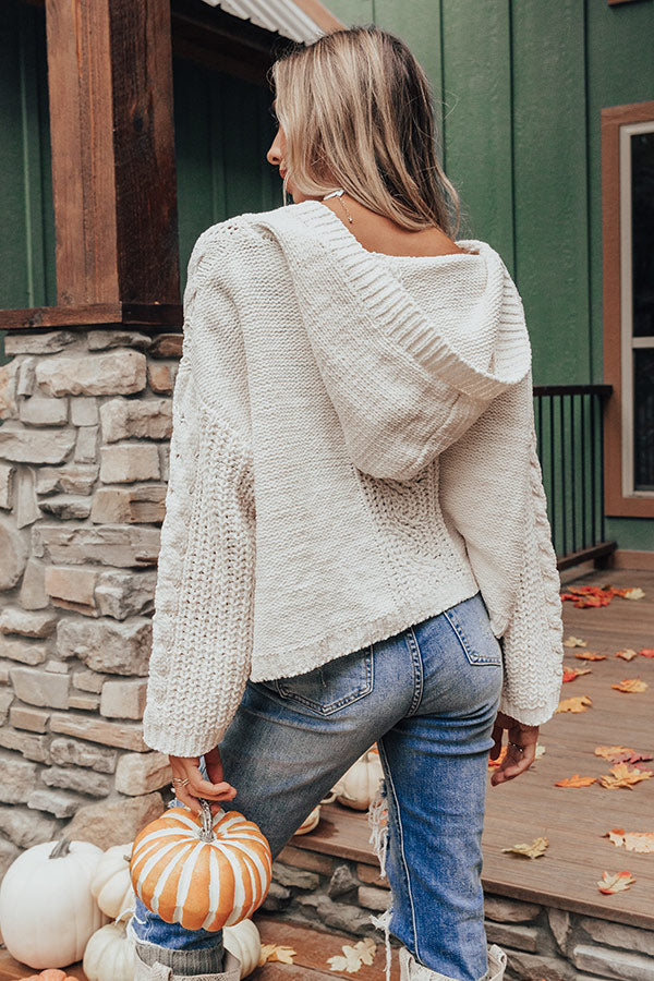 Cuddly Classic Cable Knit Sweater in Ivory