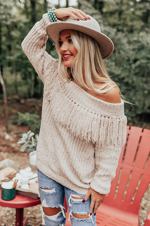 Lost In Cuddles Chenille Fringe Sweater In Cream