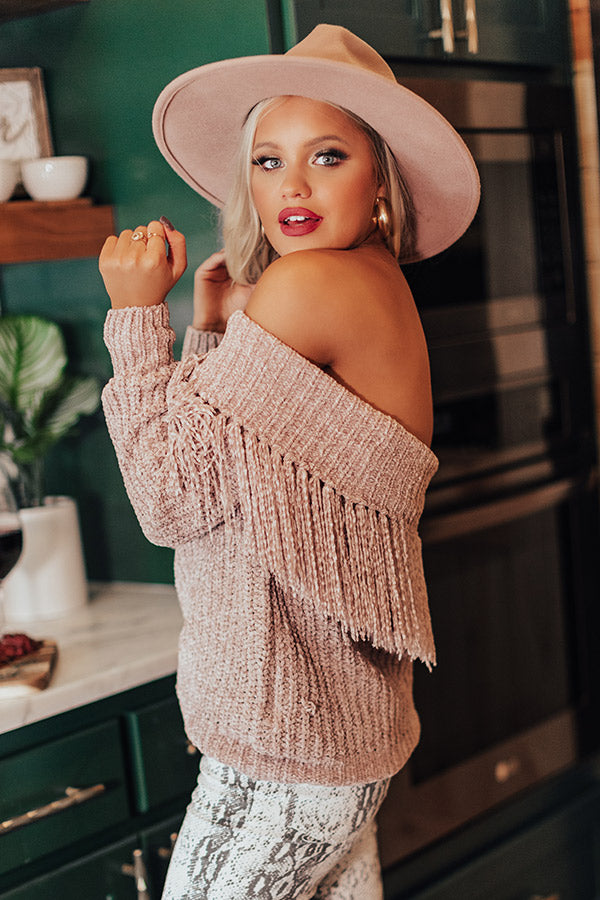 Lost In Cuddles Chenille Fringe Sweater In Blush