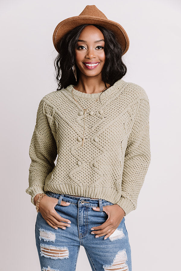 Cider Snuggles Knit Sweater In Pear