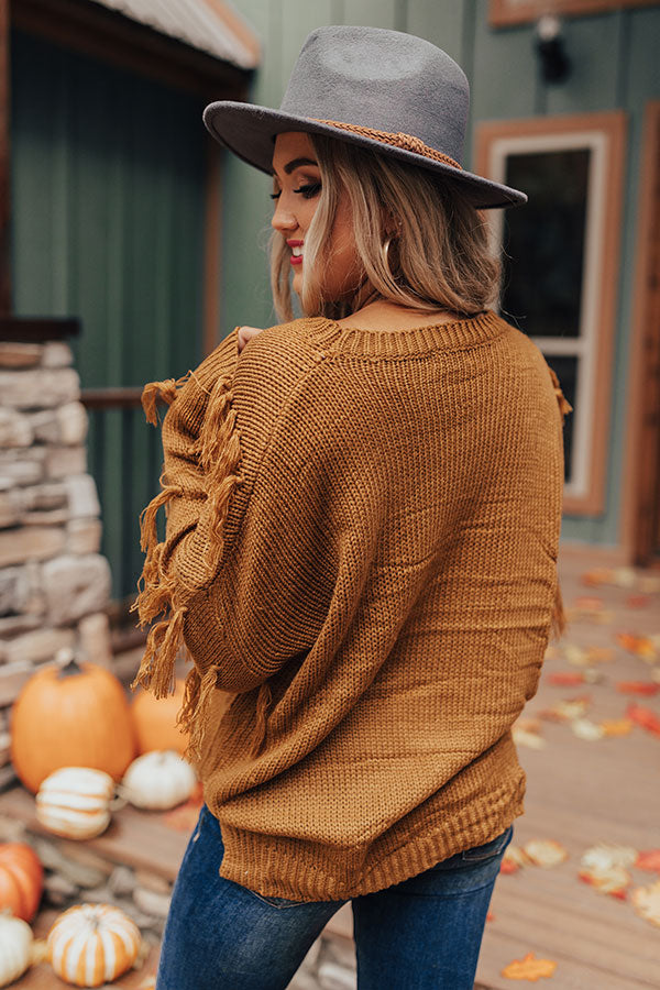 On The Fringe Knit Sweater In Mustard