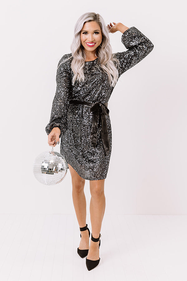 Ritz And Glitz Sequin Dress In Black