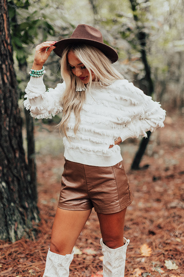 Cozy With Coffee Fringe Sweater In Ivory