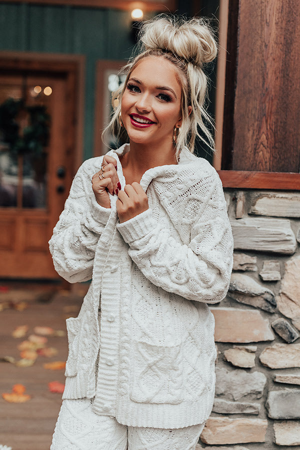 Never Too Cozy Cable Knit Cardigan In White