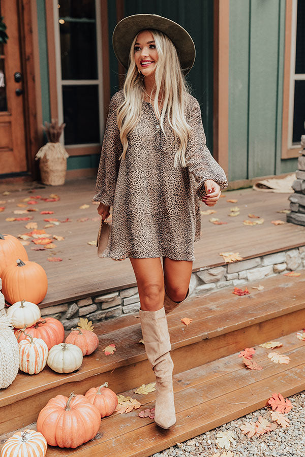 Flirty Babe Cheetah Print Tunic Dress in Iced Latte