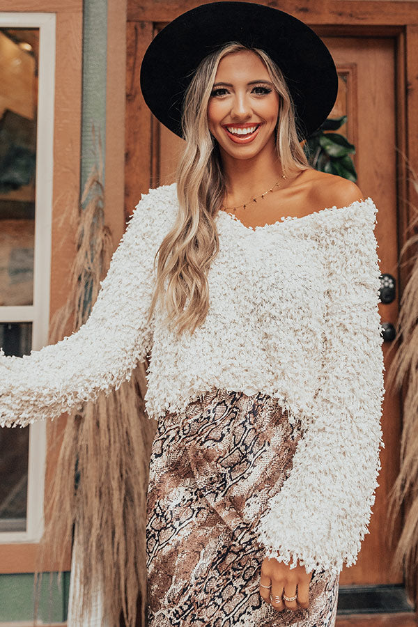 Central Park Leaves Popcorn Knit Sweater In Ivory
