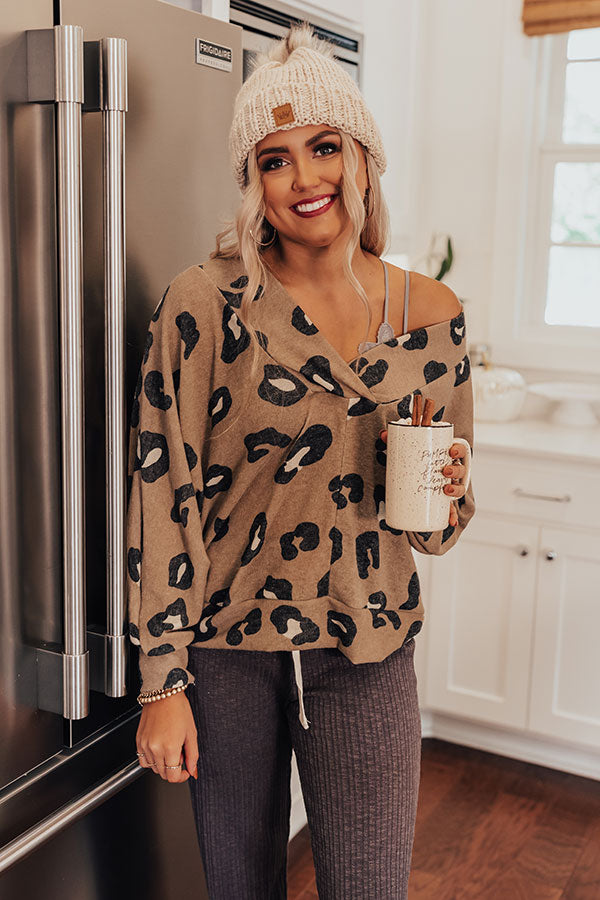 Wander And Wishes Leopard Top In Khaki