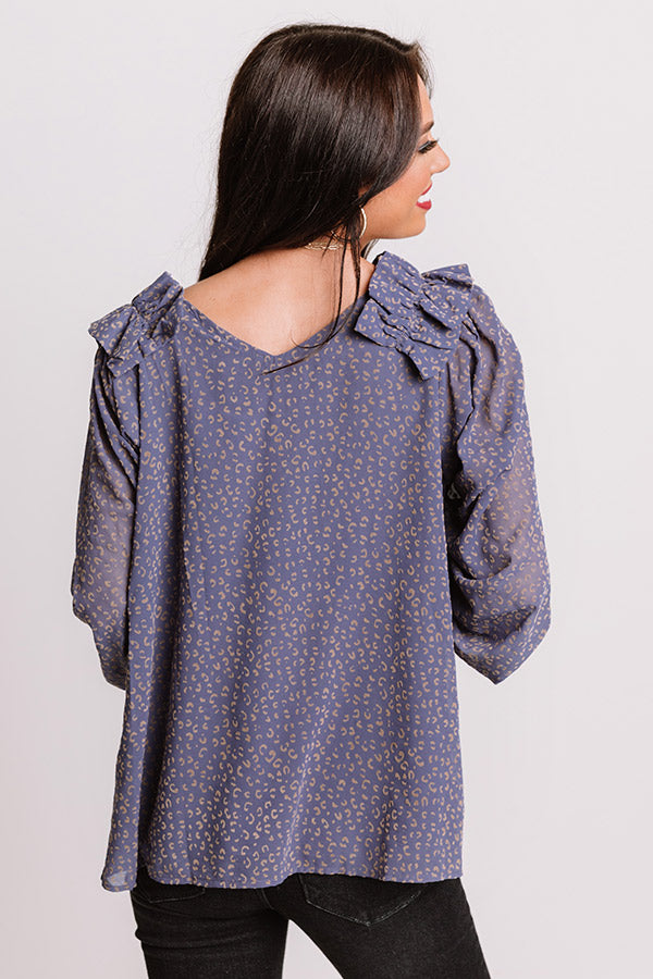 Lighting Candles Shift Top In Dark Periwinkle