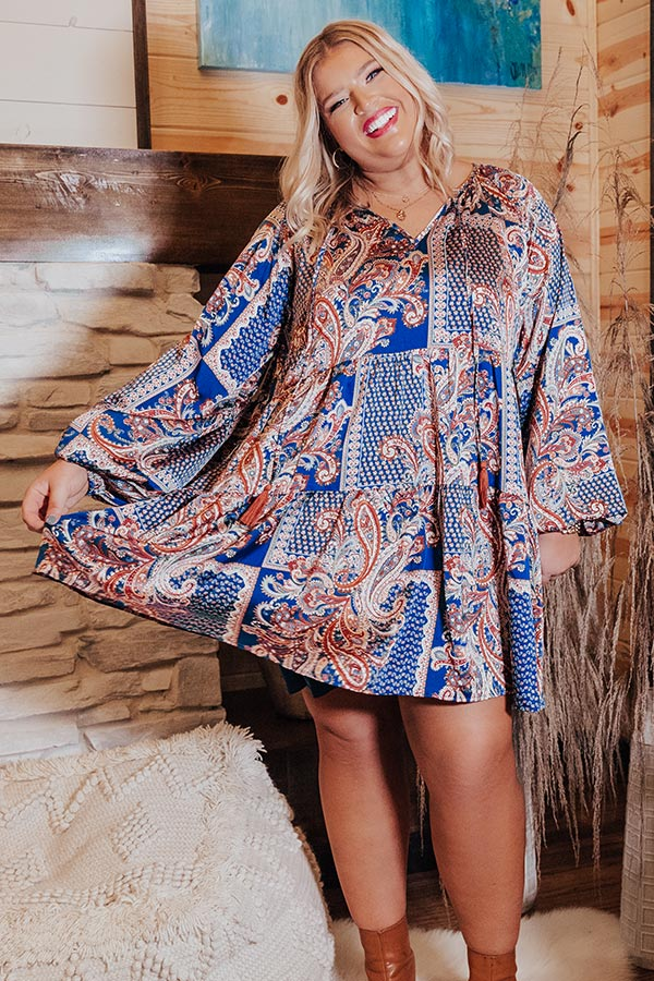 Soho Swooning Paisley Shift Dress In Blue