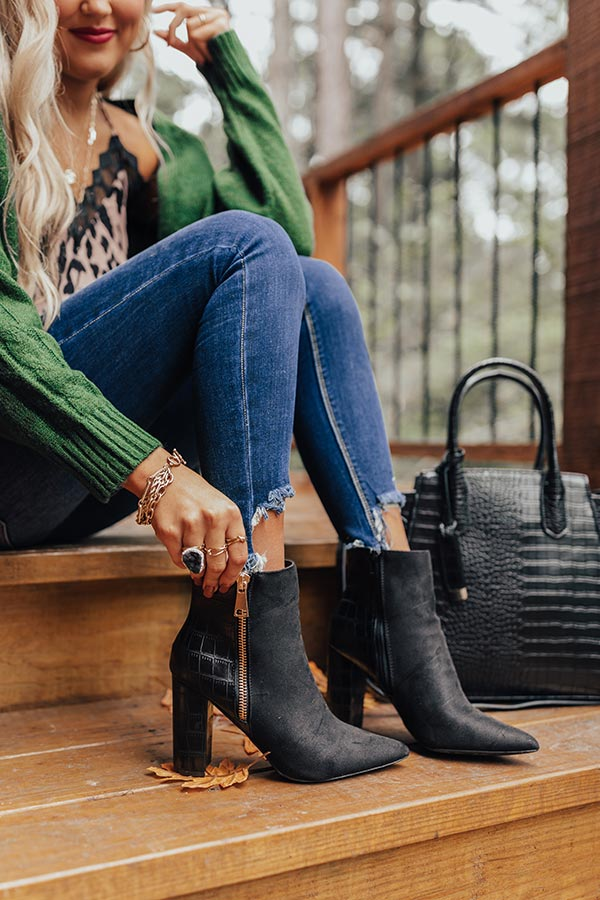 The Bailee Faux Suede Bootie In Black