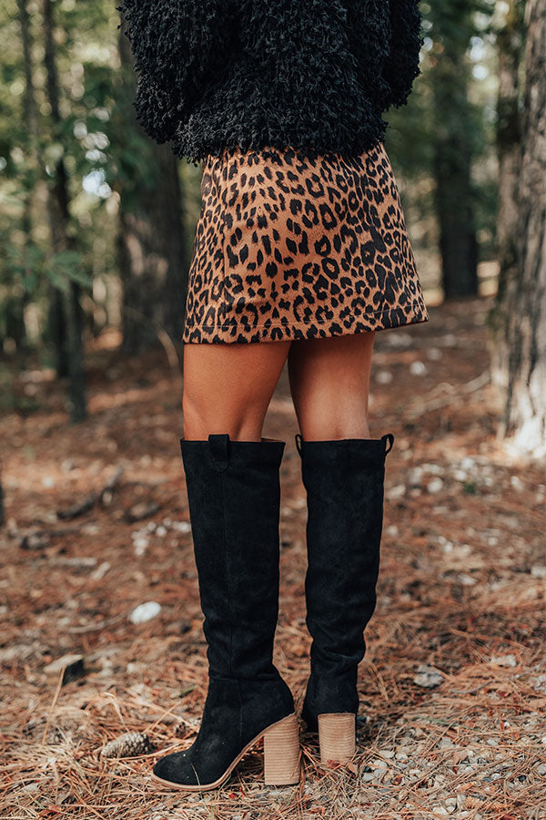 The Gracelynn Faux Suede Thigh High Boot In Black