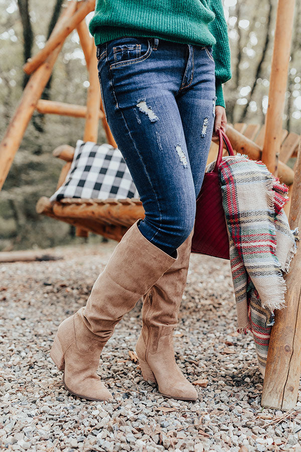 The Aura Faux Suede Boot In Iced Mocha