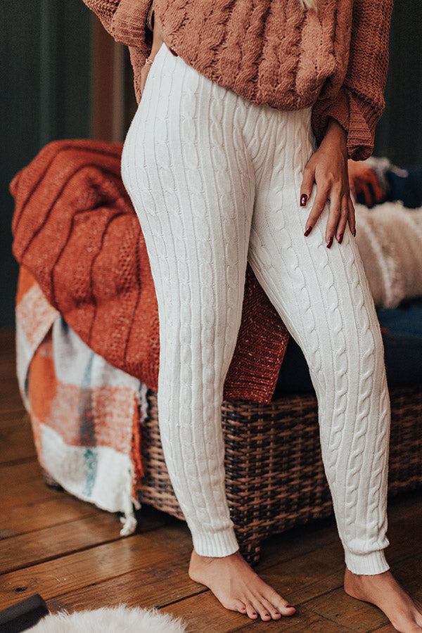Latte Kisses High Waist Cable Knit Legging In Ivory