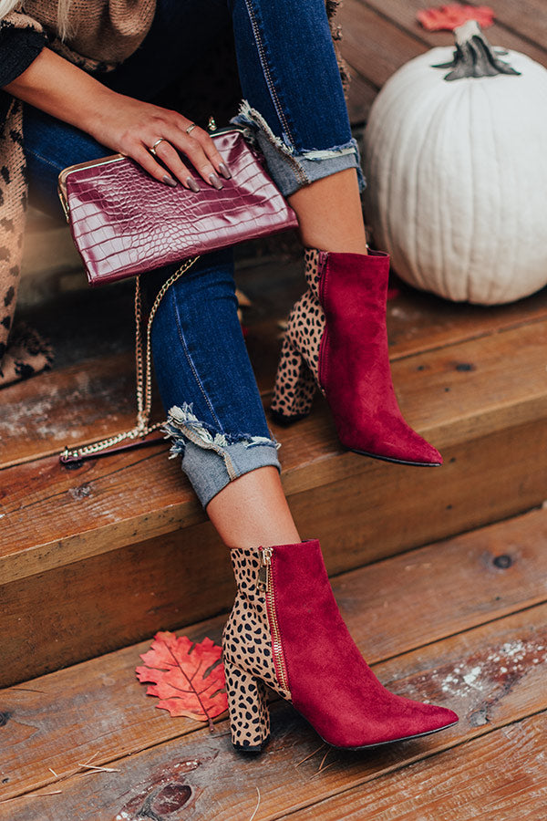 The Bailee Faux Suede Bootie In Wine