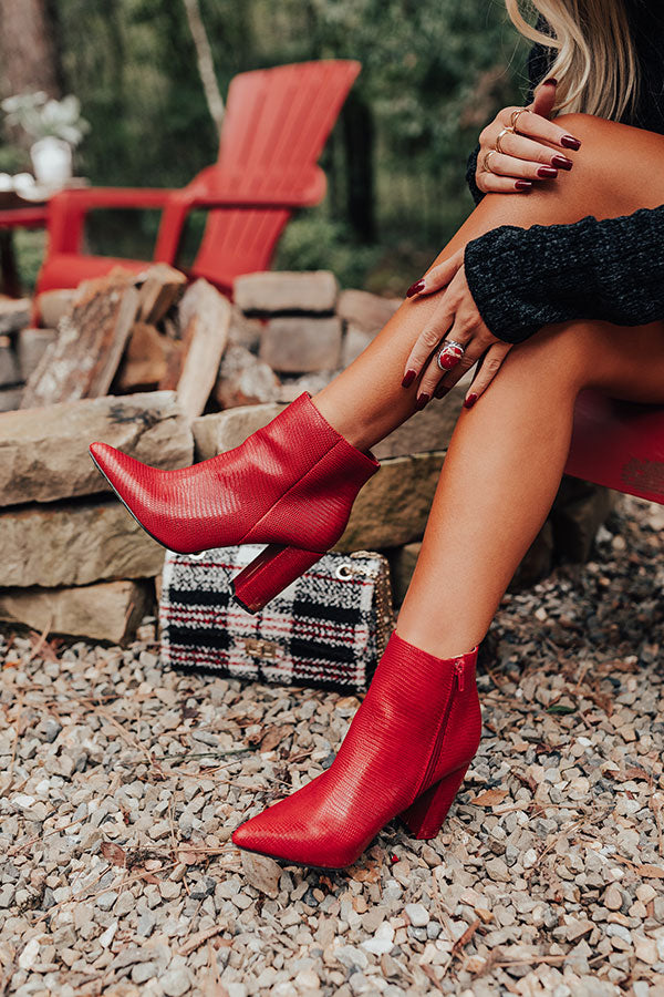 The Cora Faux Leather Bootie In Red